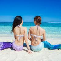 マニャガハ島はマーメイド体験(マーメイドフォト)のレンタルも充実している。